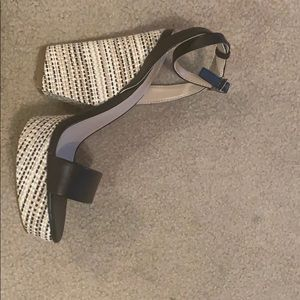 NEW black heeled sandals.